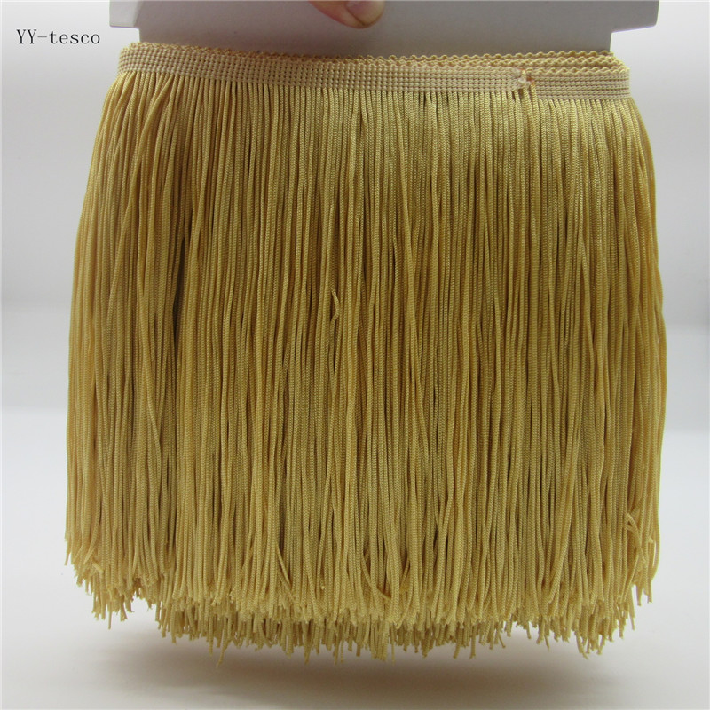 1 Yards 20CM Long Lace Fringe Trim Polyester Tassel Local Gold Fringe Trimming Diy Latin Dress Clothes Accessories Lace Ribbon