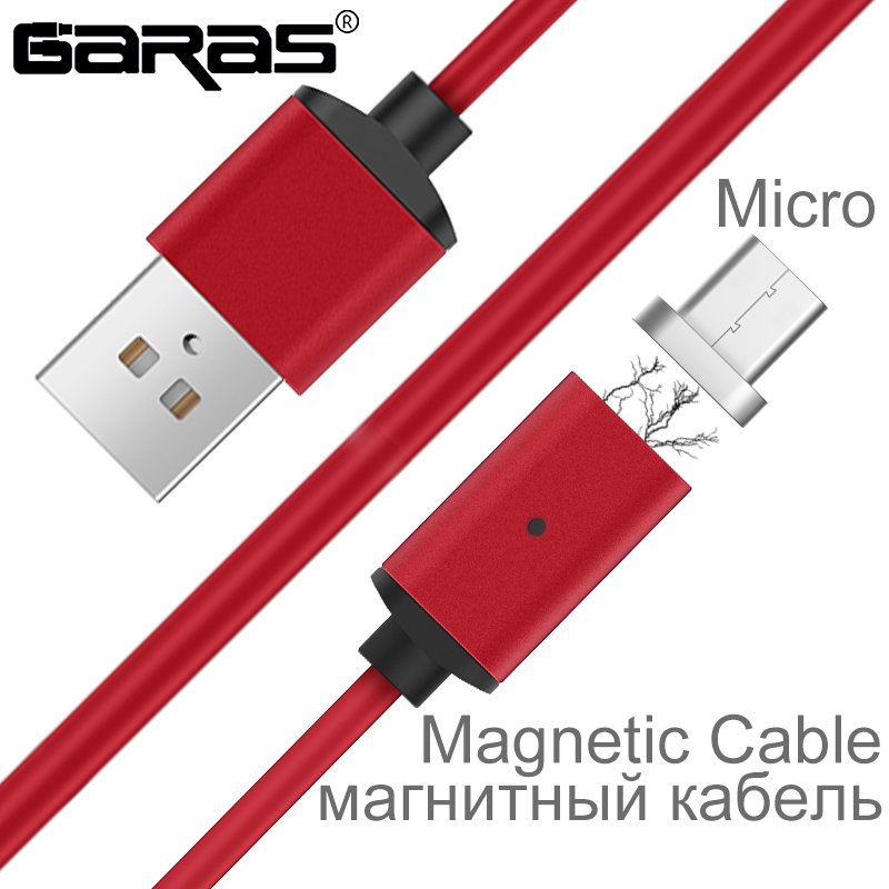 GARAS Magnetic Cable Micro USB For Android Mobile Phone Fast Charging Magnet Mic