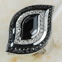 Black Onyx Women 925 Sterling Silver Ring R592 Size 6 7 8 9 10