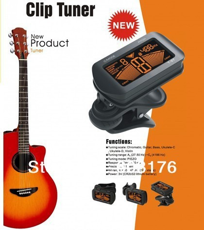 Free Shipping LCD Clip-on Electronic Digital Guitar Chromatic Bass Violin Ukulele-C Ukulele-D Tuner T-27