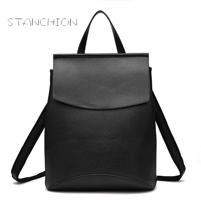 Backpack Faux Leather Women Daily Mochila Feminina PU Leather Casual Student School Fashion Travel Retro Rucksack