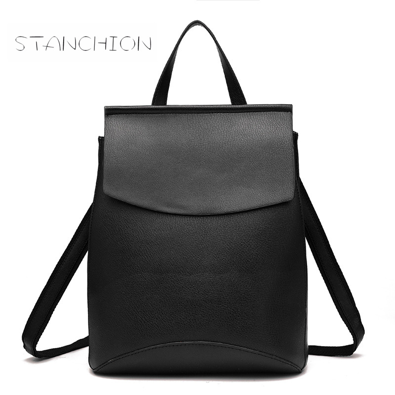 Backpack Faux Leather Women Daily Mochila Feminina PU Leather Casual Student School Fashion Travel Retro Rucksack black faux leather pebbled backpack page 2