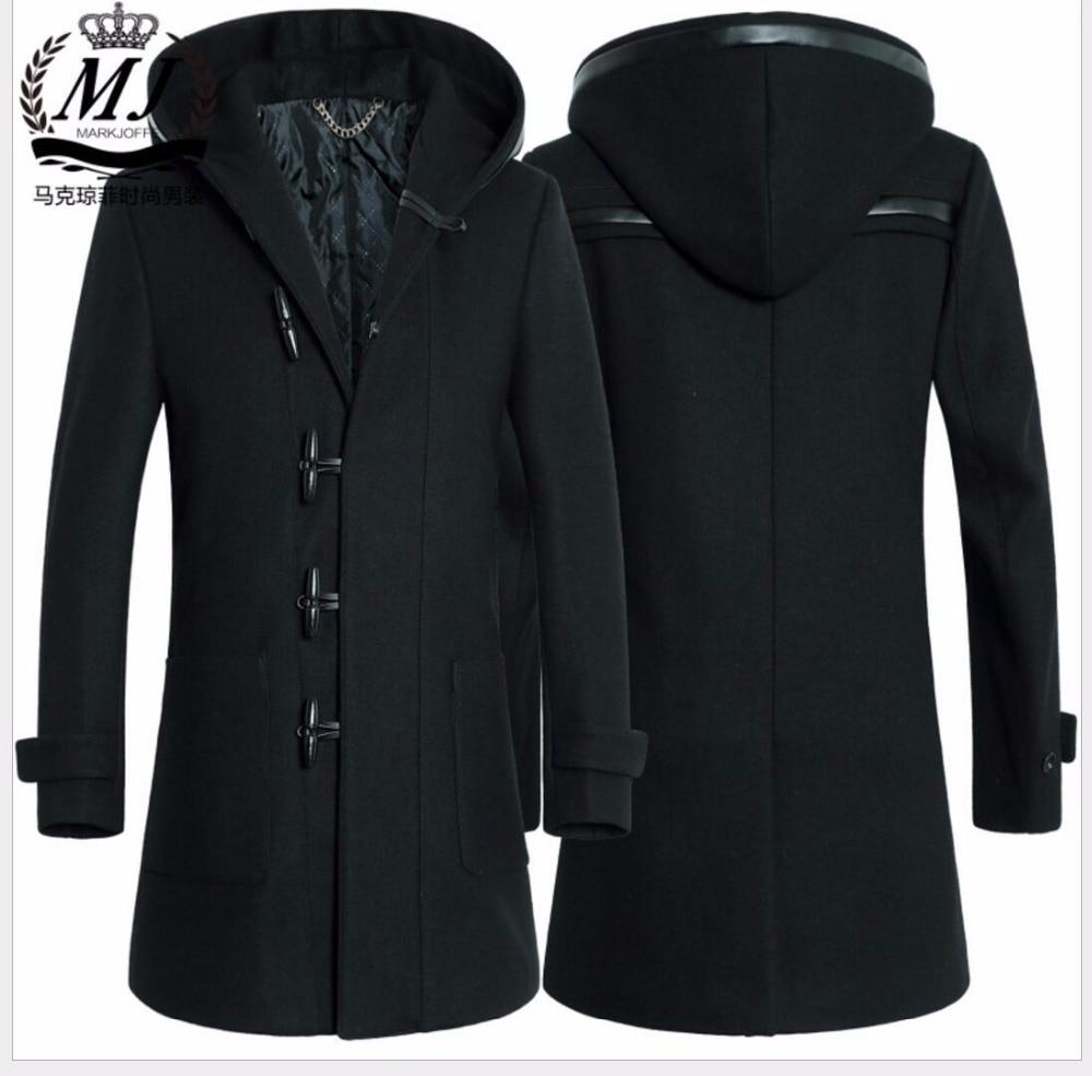 M-3XL Hiver nouveaux hommes de mode coupe-vent laine long manteau de laine  Mince Corne bouton Mélanges manteau à capuchon tranchée plus la taille des  ... 6c941b0954e1