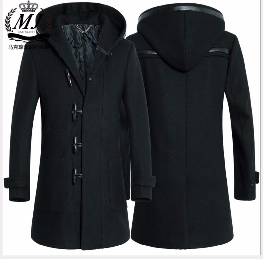 M 3XL Winter new men fashion windbreaker wool long woolen coat Slim Horn button Blends hooded