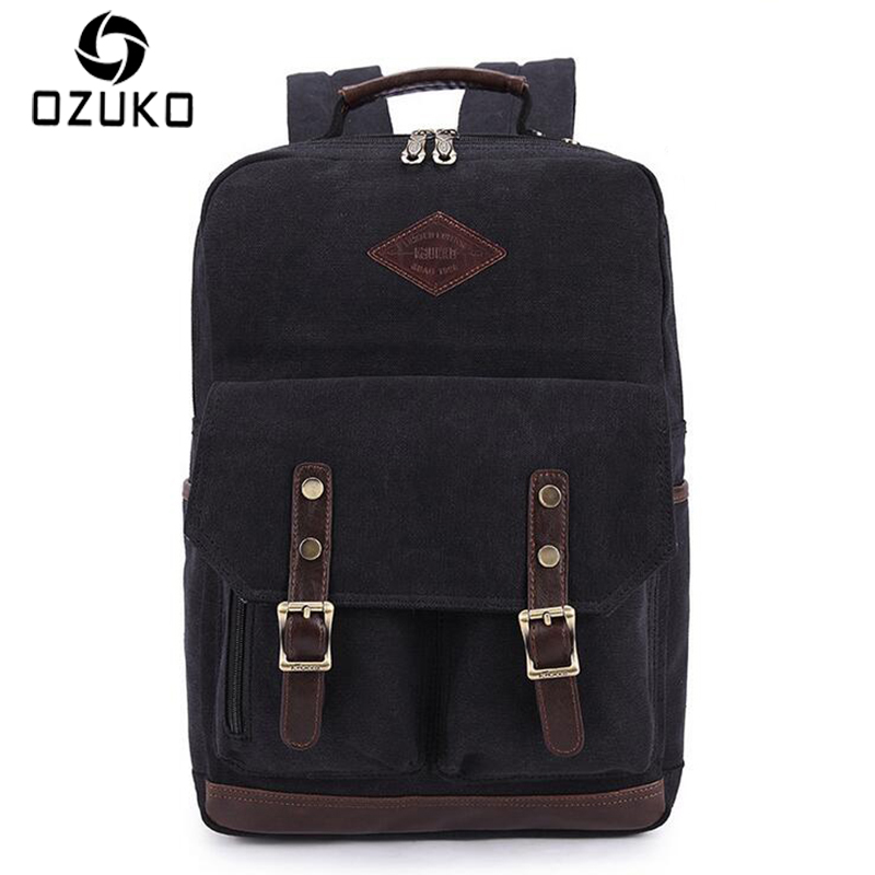 2018 OZUKO Men Canvas Backpack Vintage Fashion Rucksack Large-Capacity Travel Mochila 15 inch Laptop Backpack Srudent School Bag цена