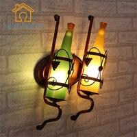Vintage Rustic Sconces Beer Bottle Wall Lamp for Bar Bedroom Hallway Balcony Decor E27 LED Bulb Home Lighting BRIGHTINWD