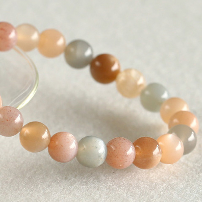 Wholesale Natural Genuine Rainbow Flash Sunstone Finish Stretch Bracelet Round Beads 8mm Fit Jewelry DIY Round