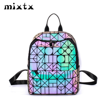 Hot Sale Women Luminous Lightnig Backpack Plaid Geometric Lingge School Back Pack Fashion High Quality Folding Travel Bag Unisex image