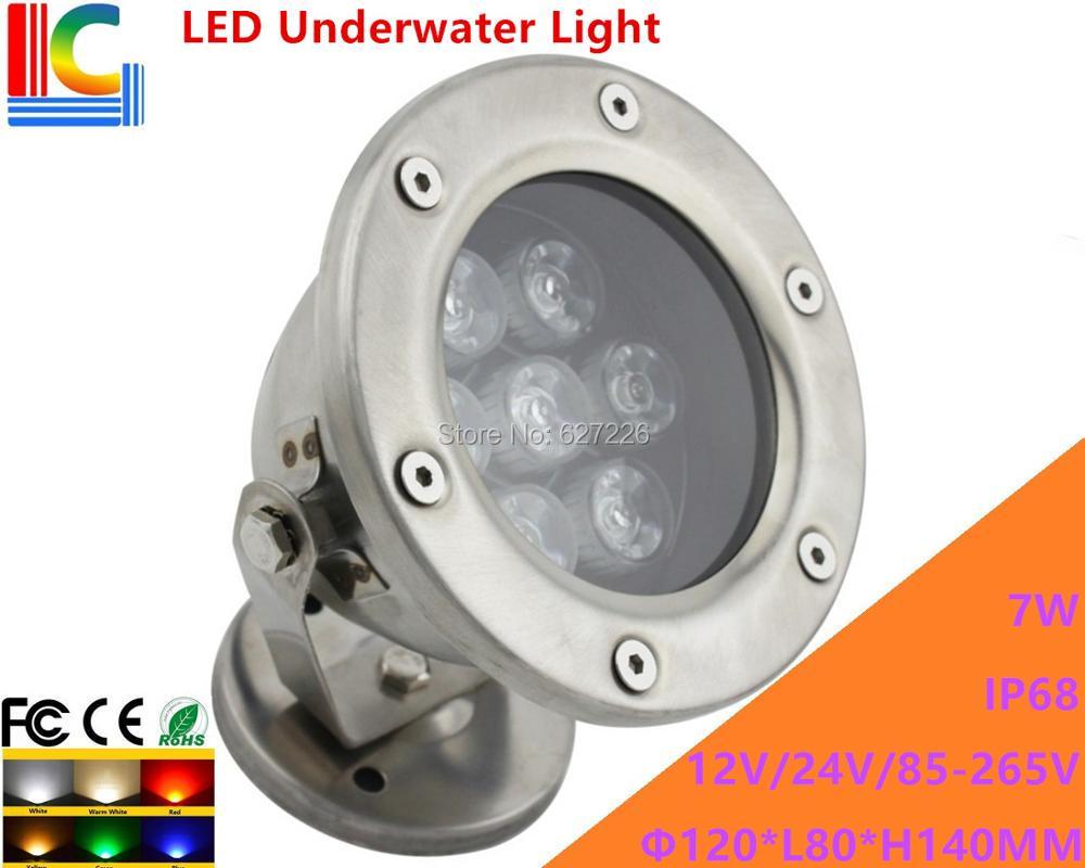 Υποβρύχιο φως LED 7W LED 12V 110V 220V Περιστροφικός υποβρύχιος προβολέας IP68 Αδιάβροχος εξωτερικός προβολέας Λάμπα λιμνών 2 κουτιών ανά τεμάχιο / παρτίδα