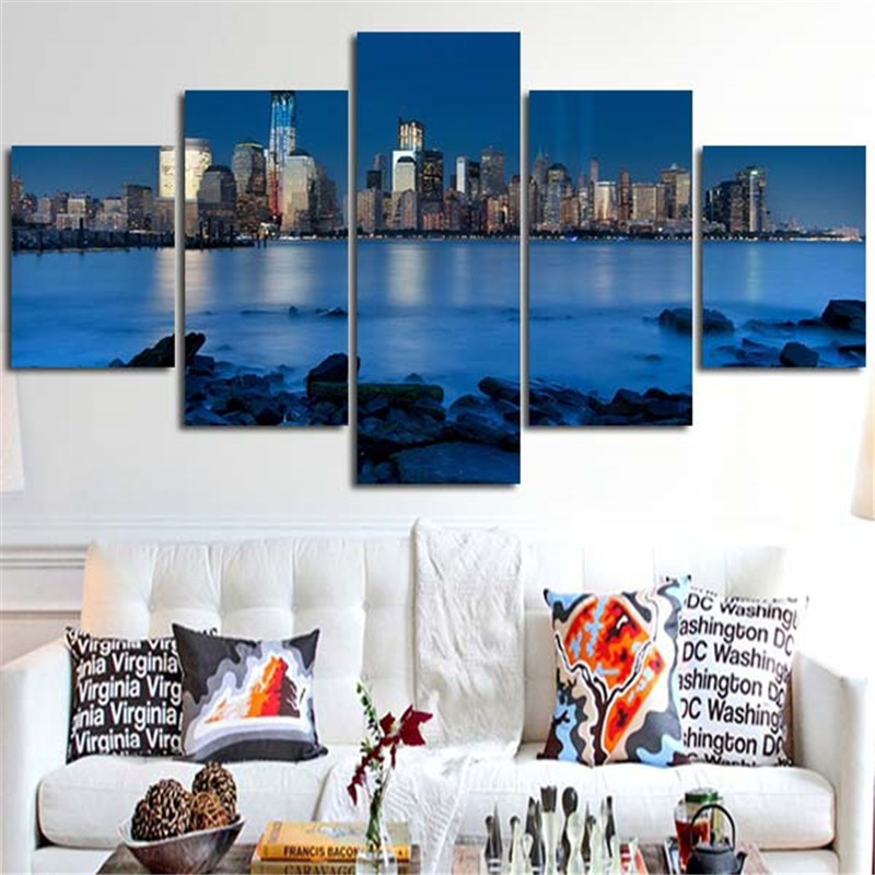5 Pieces Painting Blue River Stone Is Land City Landscape Poster For Modern Decorative Bedroom Living Room Home Wall Art Decor ...