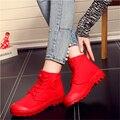 Бесплатная Доставка Новое Прибытие женская Мода Повседневная Обувь Повседневная Холст Обувь Высокого верха Сдобы Толстая Корка Мартин Обувь Size35 ~ 40