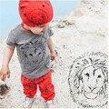 2 PCS bebé recém-nascido conjunto de roupas de leão impressão cinza t-shirt Top calças vermelhas Outfits1-5Y crianças terno crianças roupas meninos conjunto