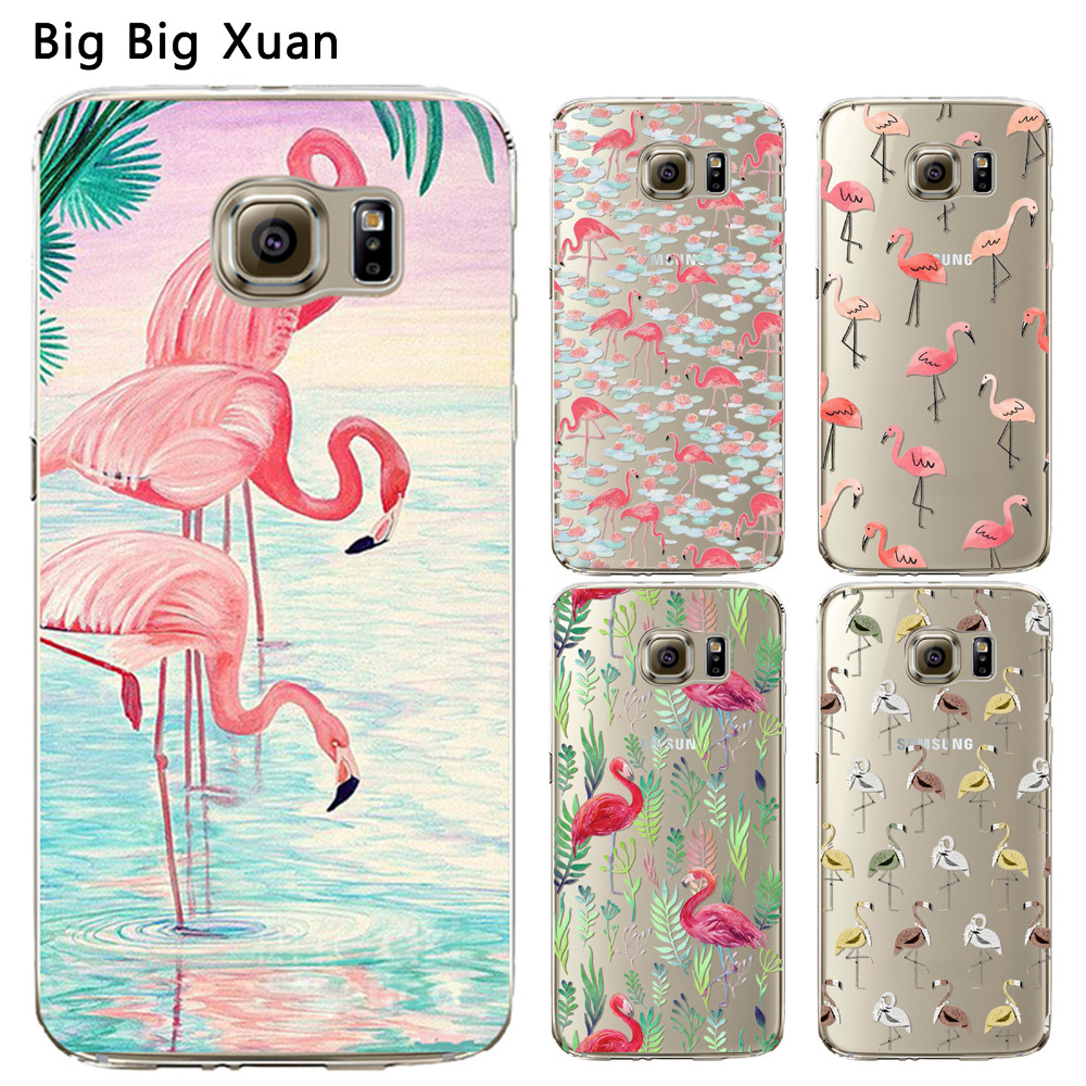 For Samsung S5 S6 S6Edge S6EdgePlus S7 S7Edge Phone Case Cover Pretty Flamingo Transparent Soft Silicon funds Coque Capa Para