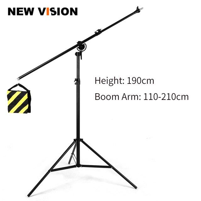 """126 """"320 cm support de lumière réglable en aluminium rotatif bidirectionnel de Boom de trépied avec le sac de sable pour la vidéo de photographie de Studio"""