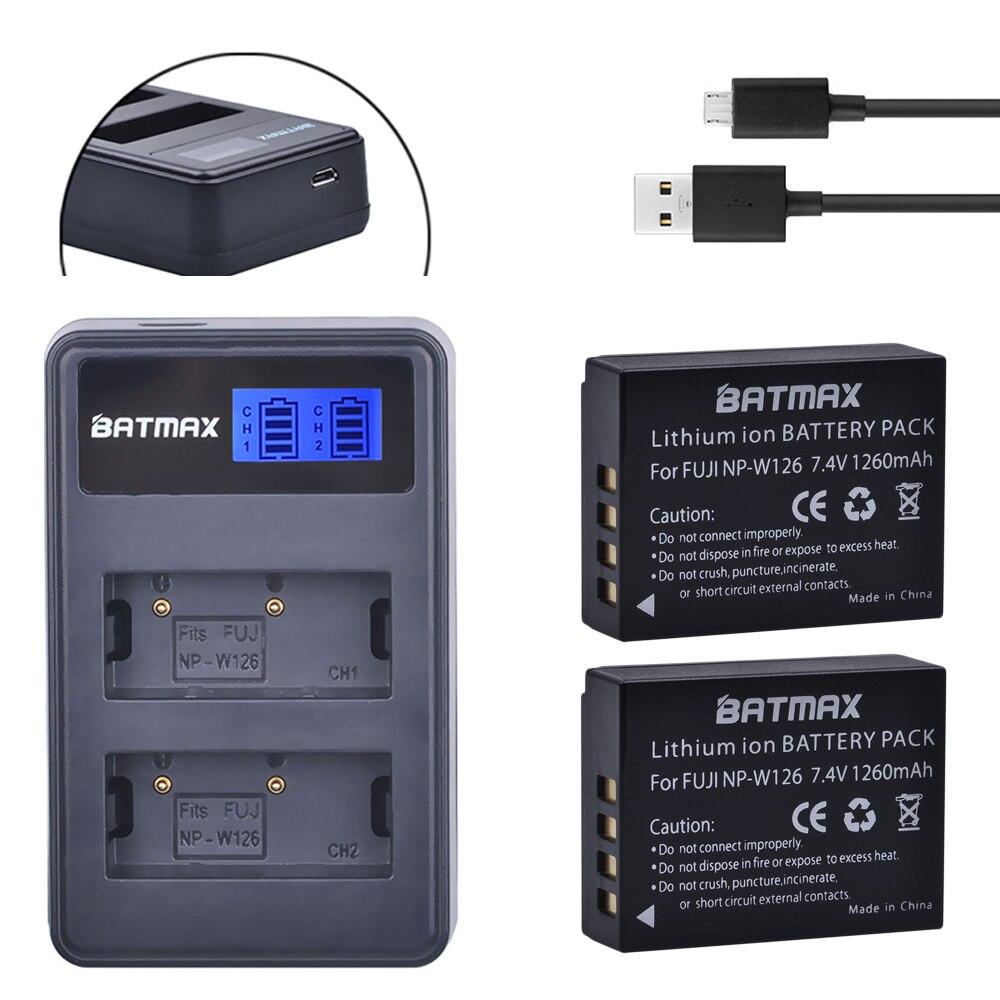 2 Pz 1260 mAh NP-W126 NP W126 NPW126 Batterie & LCD Caricatore Doppio per Fujifilm Fuji x-Pro1 XPro1 X-T1 XT1, HS30EXR HS33EXR X PRO1