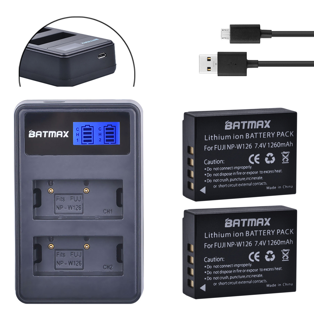 2 unids 1260 mAh np-w126 NP w126 npw126 Baterías y cargador doble LCD para Fujifilm Fuji x-pro1 xpro1 x-t1 xt1, hs30exr hs33exr x pro1
