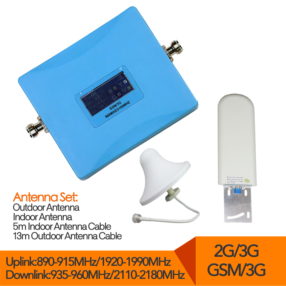 LCD Display GSM 900 Repeater 3G 2100 Cell Phone Signal Booster Dual Band Cellular Amplifier for phone with full set antennaLCD Display GSM 900 Repeater 3G 2100 Cell Phone Signal Booster Dual Band Cellular Amplifier for phone with full set antenna