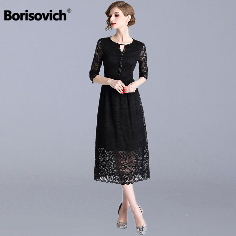Borisovich Ladies Elegant Evening Party Dress New Brand 2019 Spring Fashion Hollow Out Black Lace Women