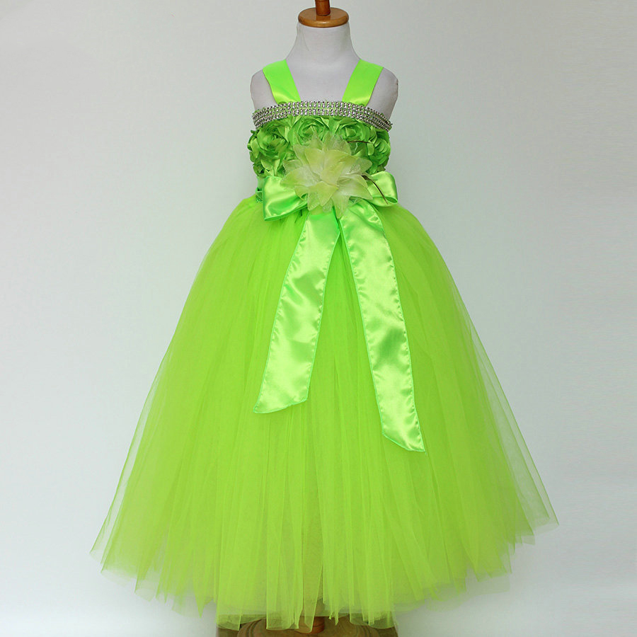 Children Evening Wedding Gowns Kids 2 3 4 5 6 7 Year Old Birthday Outfit Flower Girl Dresses Green Red Blue Party Dress