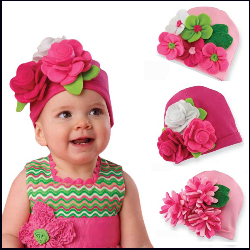 DreamShining Floral Baby Hats Winter Beanie Christmas Girls Caps Newborn Photography Props Gifts Kids Knitted Cap Handmade Hats стоимость