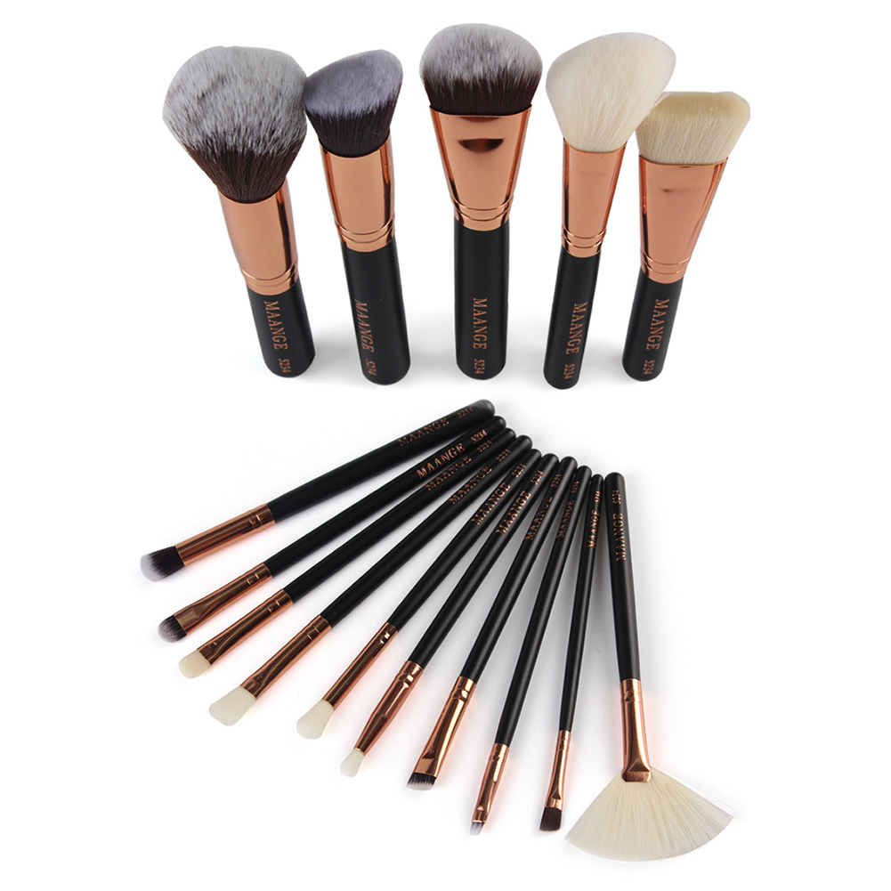 High Quality 15 Brushes Facial Makeup Tool Set Kit Rose Golden Color for Foundation Blush Eye Shadow Lip Gloss in Opp Bag kcchstar the eye of god high quality 316 titanium steel necklaces golden blue