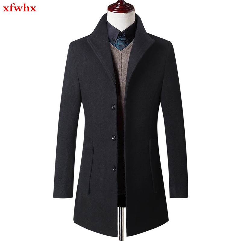 new Business Casual Top Quality Parka men Jacket Coat Overcoats Male Wool Blends Outerwear Autumn and winter