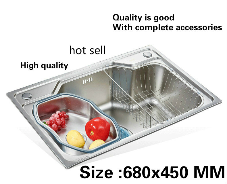 Free shipping Household vogue kitchen single trough sink food-grade 304 stainless steel hot sell 680x450 MMFree shipping Household vogue kitchen single trough sink food-grade 304 stainless steel hot sell 680x450 MM