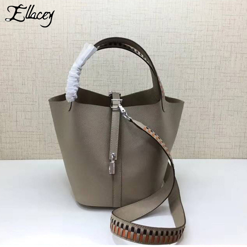 Ellacey 2019 Luxury Cow Leather Bucket Bags With Ribbon Genuine Leather Handbags Women Shoulder Bags Lady Basket Tote BagEllacey 2019 Luxury Cow Leather Bucket Bags With Ribbon Genuine Leather Handbags Women Shoulder Bags Lady Basket Tote Bag