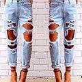 Mulheres calças de Brim Demin Calças Sexy Jeans Rasgados Verão Grandes Buracos Calças Slim Sólidos Skinny Demin Lavado Calça Casual Calças Femininas