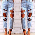 Women Jeans Demin Pants Sexy Ripped Jeans Summer Big Holes Slim Trousers Solid Skinny Washed Demin Pant Casual Pants Female