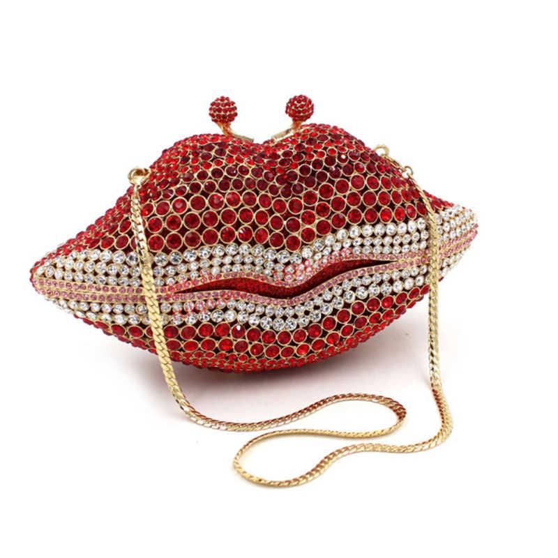 XIYUAN MEREK wanita utusan merah tas rhinestones Kristal Berlian tas malam tas perempuan perak Bridal Evening party purse