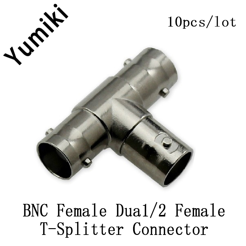 10pcs/lot  BNC Female To Dual/2 Female T-Splitter Connectors Adapter For CCTV Cameras