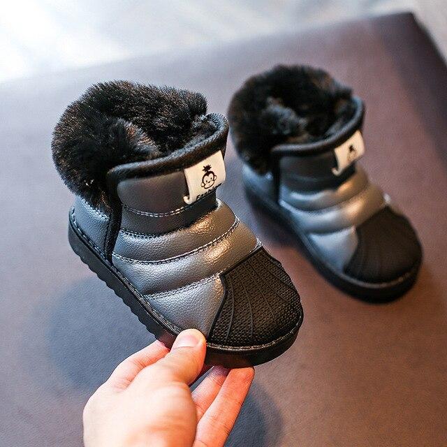 ילדים בנות שלג נערי נעלי חורף חם קטיפה רך תחתון ילדי אופנה תינוק בני פעוט נעליים