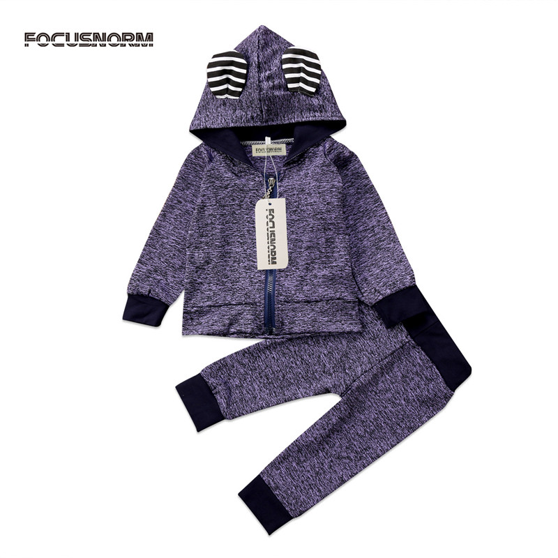 Autumn Newborn Infant Baby Boys Clothes Sets Long Sleeve Hooded Tops+Pants 2PCS Baby Clothes Suit 0-24 Months