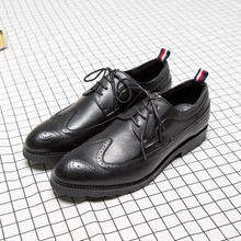 Hot Sale Formal Men Brogue Shoes British Vintage Pointed Toe Bullock Carved Leather Shoes Fashion Spiked Zapatos Plus Size 37-46