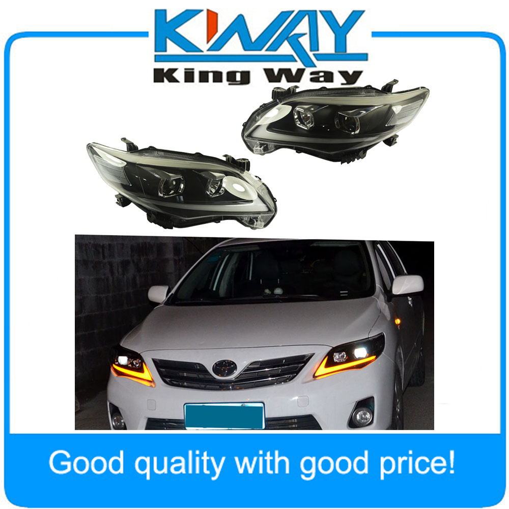 Headlights drl halo led projector head lights for 2011 2013 toyota corolla china