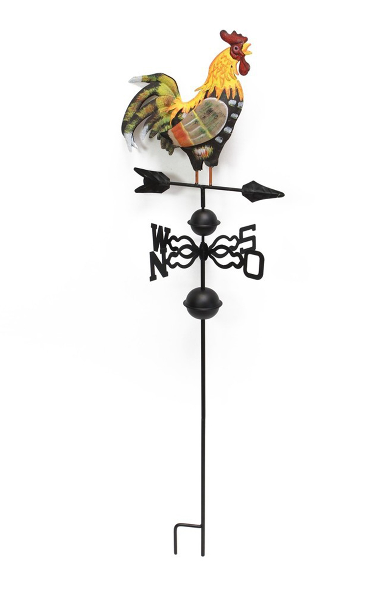 49 in Metal Weather Vane with Rooster Ornament Painted rooster vane is a classic country style