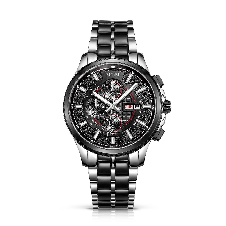 BUREI 17003 Switzerland watches men Men's Luminous Chronograph Day and Date Watch with Two-Tone Bracelet,Black Bezel Black Dial