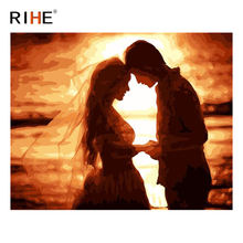 RIHE Sunset Couple Oil Painting By Numbers Sea Wedding Cuadros Decoracion Acrylic Paint On Canvas For Artwork Modern Home Decor