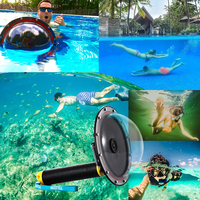 TELESIN Waterproof 30M 6 Dome Port Float Bobber Handle for GoPro Hero 4 3 3+ Camera Underwater for GoPro Housing Accessories
