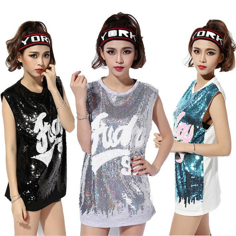 New Korean Sexy Nightclub DS Sleeveless T-shirt Middle Long Sections Loose Hip-hop Fashion Sequined Paillette Dance Jazz Costume