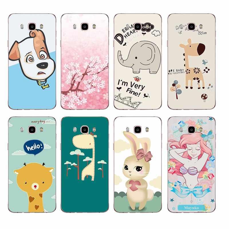 Cão dos desenhos animados sereia veado elefante flora macio tpu caso de telefone para samsung a5 j3 j5 j7 j1 j2 s6 s7 s8 s8plus note8 c5 c7 c9 s9 c265