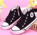 2015 de primavera y otoño niño zapatos de lona blanca de alta zapatillas de deporte zapatos con cómodo de los niños zapatos de Cuatro colores opcionales