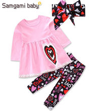 cce383e22973 SAMGAMI BABY Girls Brand Toddler Girl Clothing Sets cartoon pink tops T- shirt + printing long pants+headband 3pcs Kids Clothes