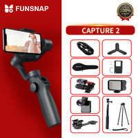 Funsnap Capture2 stabilisateur de cardan portable 3 axes pour Smartphone Samsung Iphone X XR 8 7 Gopro caméra Action EKEN 1 Kit de cardan