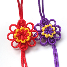 100 pcs Chinese Decorative Knots Pendants DIY Knot New Year Gifts Key Tassel Fringe Hand Knitting Double Layer Sunflower