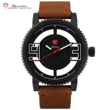 Megamouth Shark Sport Watch 3 D Special Transparent Dial Design Brand Luxury Brown Leather Waterproof Men Wrist Watches / SH543