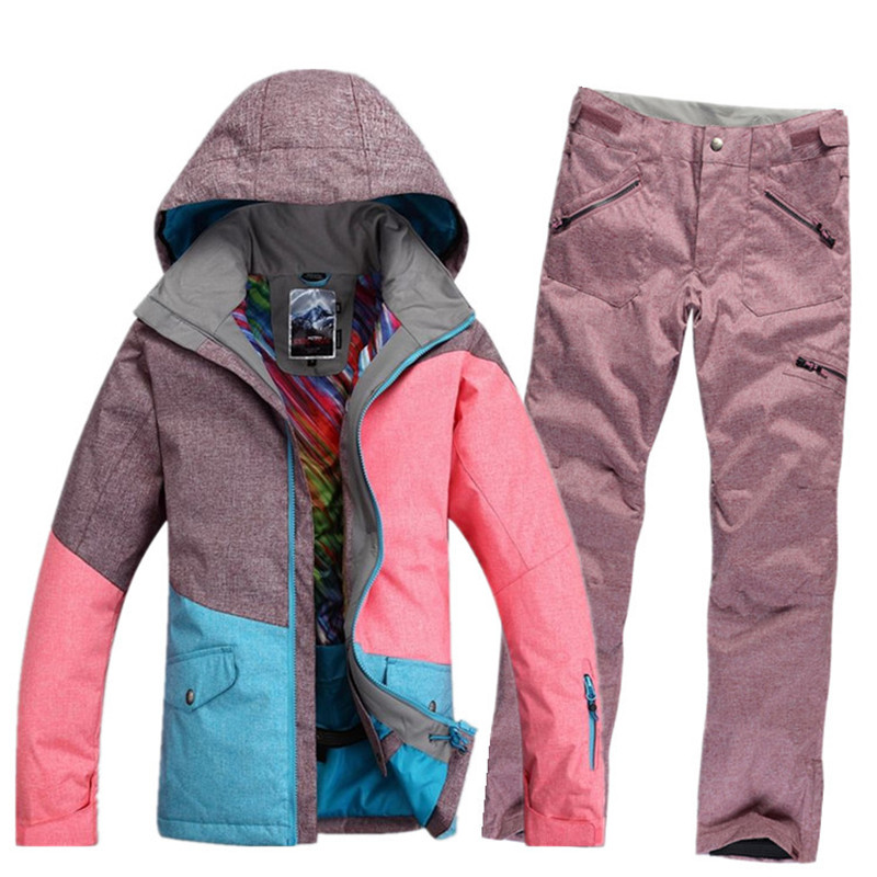 GSOU SNOW Three Color Hit Ski suit sets Outdoor Sports 10K waterproof thicker Winter Snow Costumes Snowboarding Jacket+bibs Pant