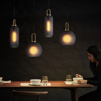 Modern minimalist transparent glass ball single head chandelier Nordic design matte luxury plating alloy LED lighting diningroom