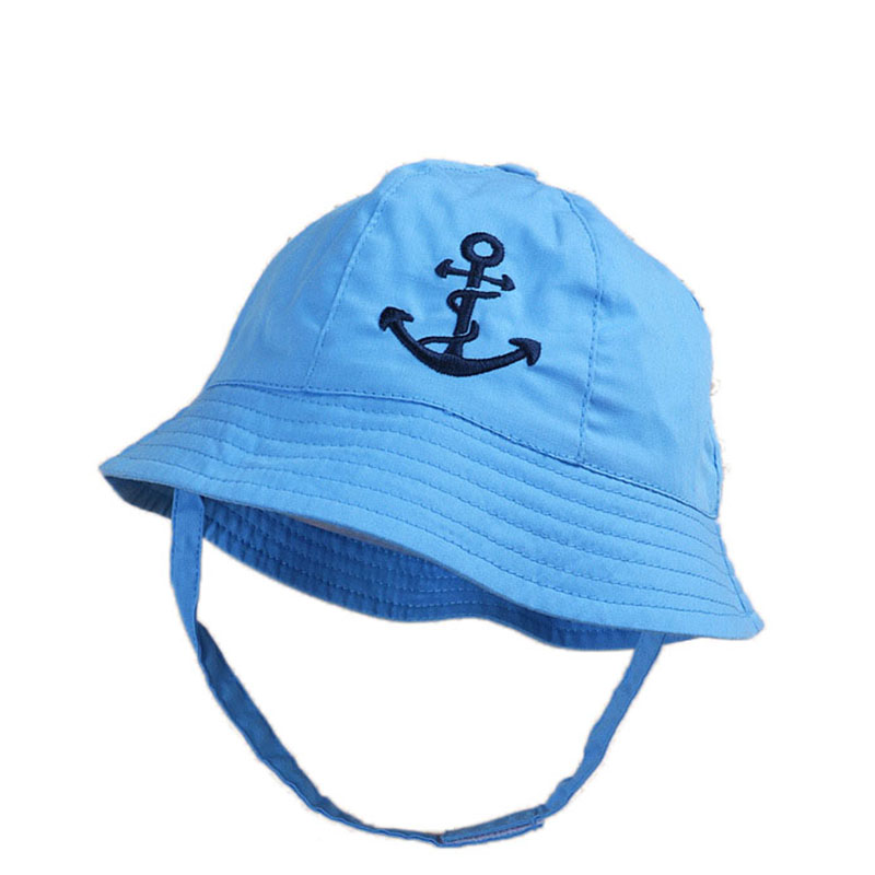 34ae4af1e11 2018 Summer Embroidery Anchor Baby Sun Hat Infant Girls Boys Bucket Hat  Cotton Baby Summer Hat Sun Protection Caps 3 12M-in Hats   Caps from Mother    Kids ...
